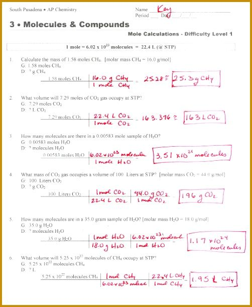 Mole To Grams Grams To Moles Conversions Worksheet Answer Key
