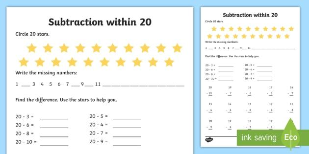 Subtraction Within 20 Worksheet   Worksheet