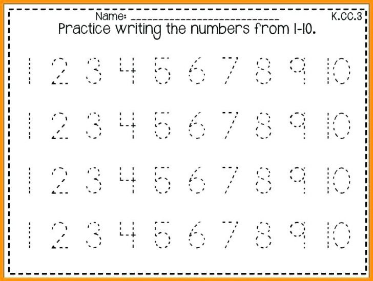 Number Tracing Worksheets 1 10