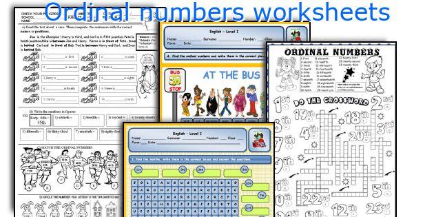 Ordinal Numbers Worksheets