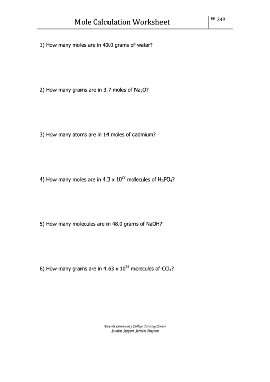 Mole Calculation Worksheet With Answers Printable Pdf Download