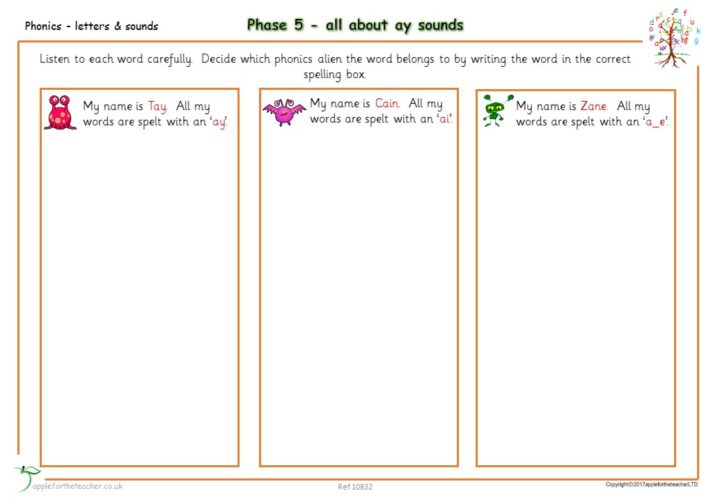 Phonics Phase 5 (ay) Sounds Worksheet