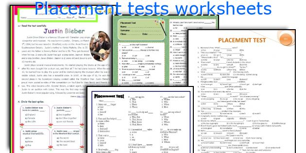 Placement Tests Worksheets