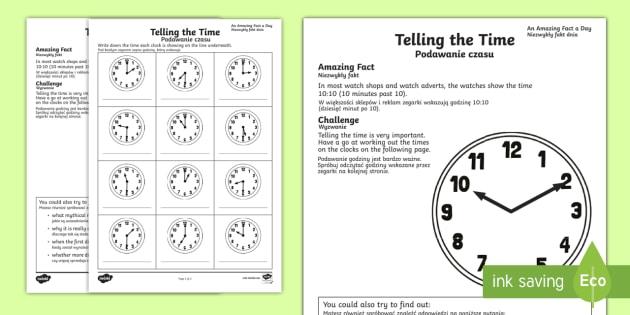 Telling The Time Worksheet   Worksheet English Polish