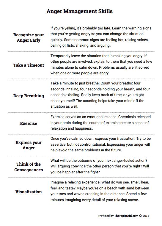 Anger Management Skills (worksheet)