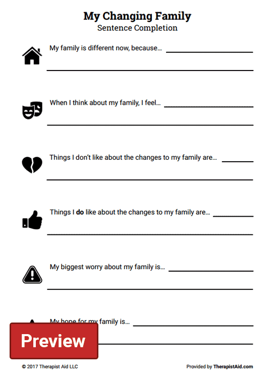 My Changing Family  Sentence Completion (worksheet)
