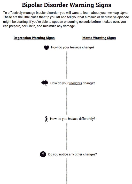 Bipolar Disorder Warning Signs (worksheet)