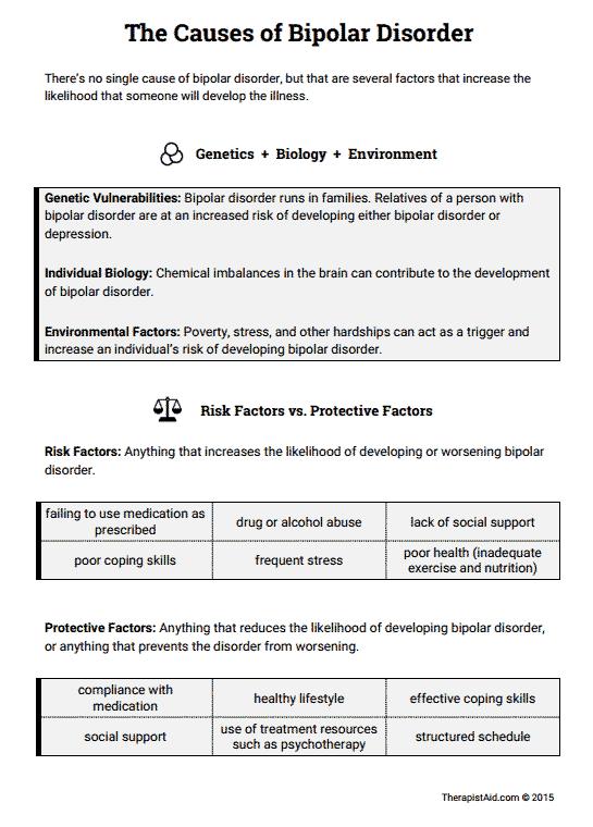 Causes Of Bipolar Disorder (worksheet)