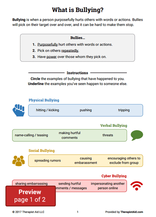 Bullying Worksheet Packet (worksheet)