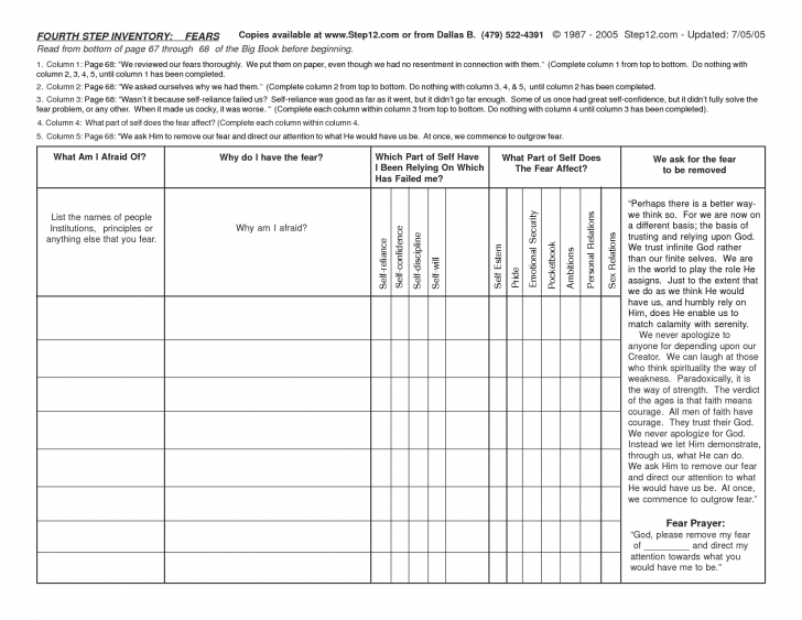 Aa 4th Step Worksheets