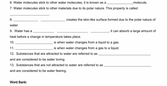 Properties Of Water Worksheet Answer Key