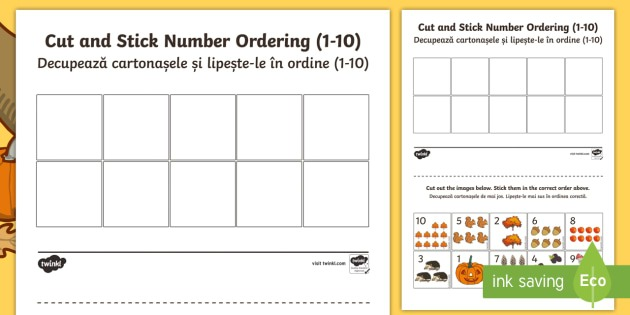 Autumn Themed Cut And Stick Number Ordering 1