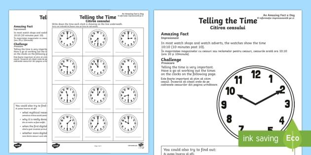 Telling The Time Worksheet   Worksheet English Romanian