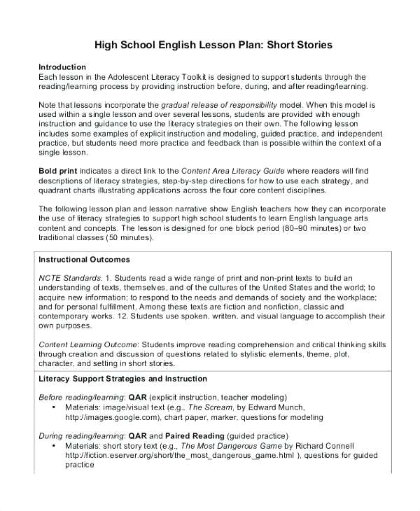 Short Story Lesson Plan High School Lesson 1 2 Short Story Writing