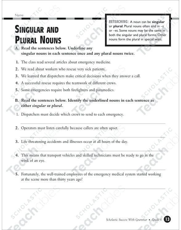 Singular And Plural Nouns Grade 4 Collection Printable Leveled
