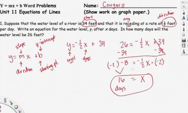 Printables Of Slope Intercept Form Word Problems Worksheet With