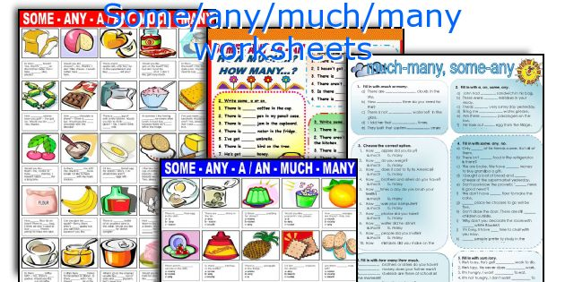 Some Any Much Many Worksheets
