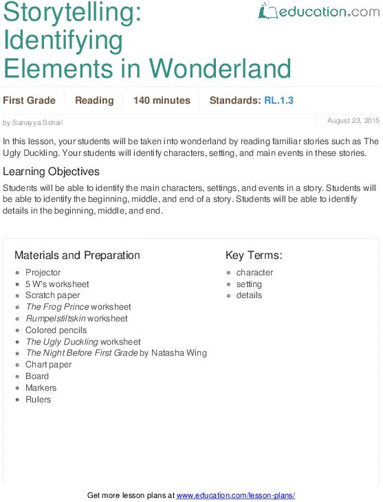 Storytelling  Identifying Elements In Wonderland