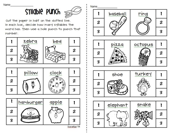 Syllable Worksheets For Kindergarten