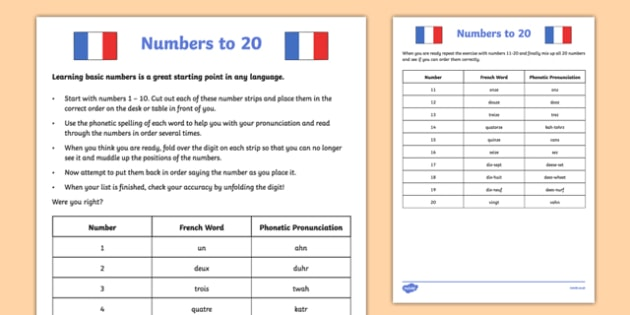 Numbers To 20 French Worksheet   Worksheet