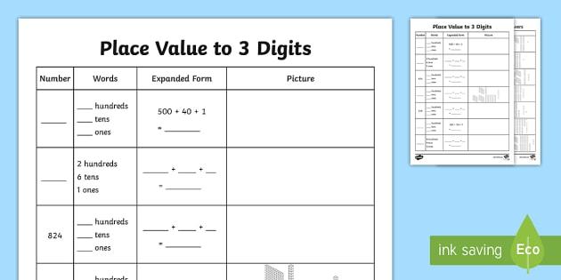 Place Value To 3 Digits Worksheet   Worksheet