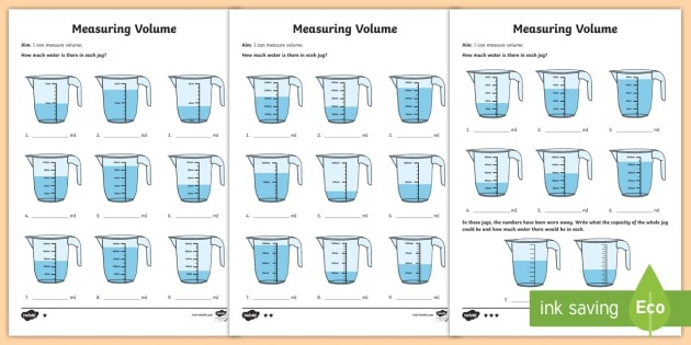 Year 3 Measure Volume Differentiated Worksheets