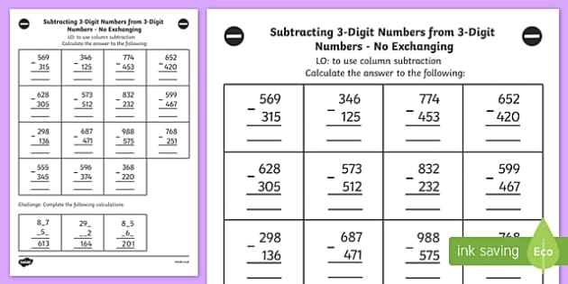 Subtracting Without Exchanging 3