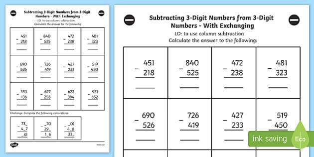 Subtracting 3 Digit Numbers From 3 Digit Number Worksheet Year 3