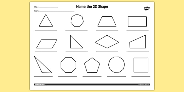 Name The 2d Shape Year 4 Worksheet