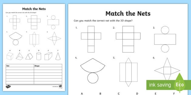 Match The 3d Net Worksheet   Worksheet