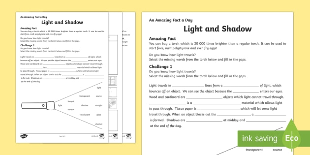 Light And Shadow Worksheet   Worksheet