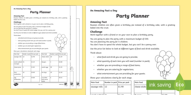 A Party Planner Worksheet   Worksheet