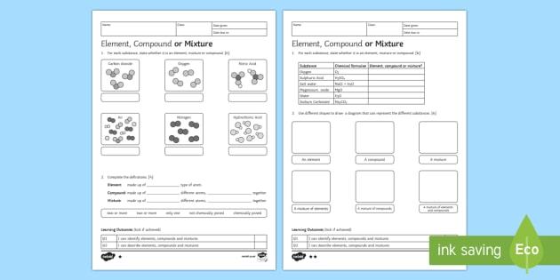 Ks3 Element, Compound Or Mixture Homework Worksheet   Worksheet
