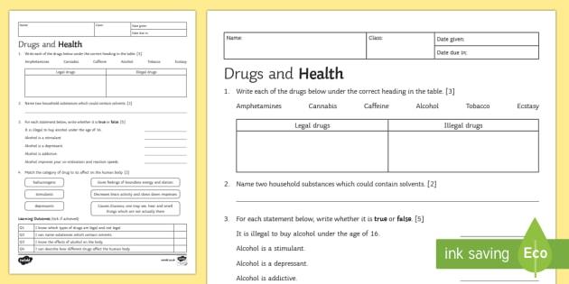 Ks3 Drugs And Health Homework Worksheet   Worksheet