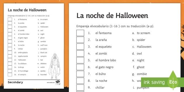 Halloween Matching Worksheet   Worksheet Spanish