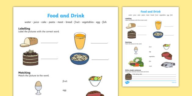Food And Drink Worksheet   Worksheet, Worksheet
