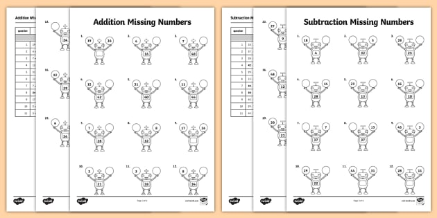Addition And Subtraction Missing Numbers Robot Themed Worksheet