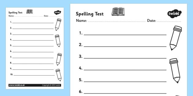 Esl Spelling Test Template Worksheet