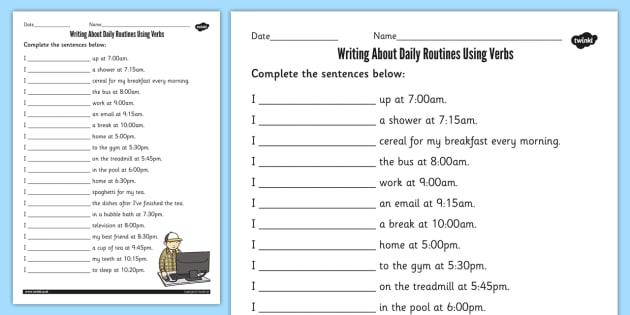 Using Verbs In Daily Routines Worksheet   Worksheet