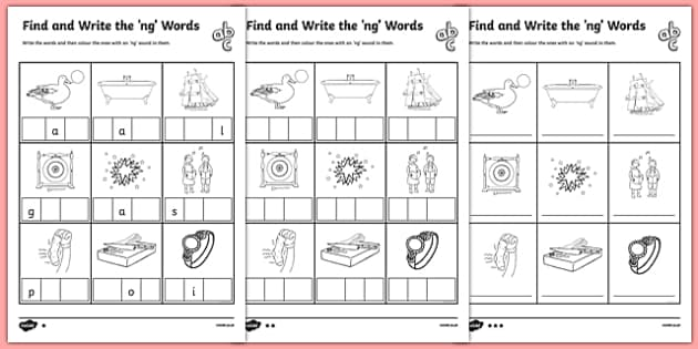 Find And Write The Ng Words Differentiated Worksheet   Worksheet Pack