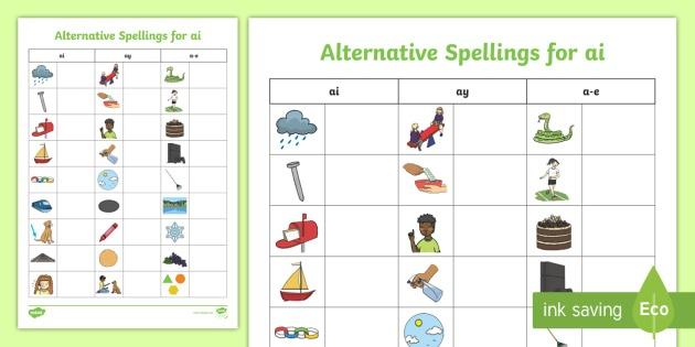 Alternative Spellings Ai, Ay, A