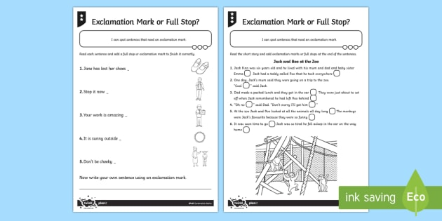 Exclamation Mark Or Full Stop Differentiated Worksheet   Worksheet