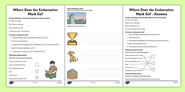 Exclamation Mark Worksheets