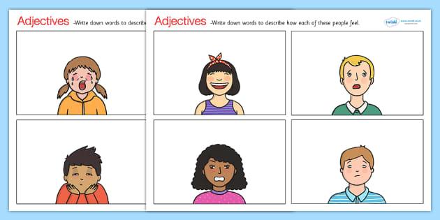 Feelings Adjectives Worksheets