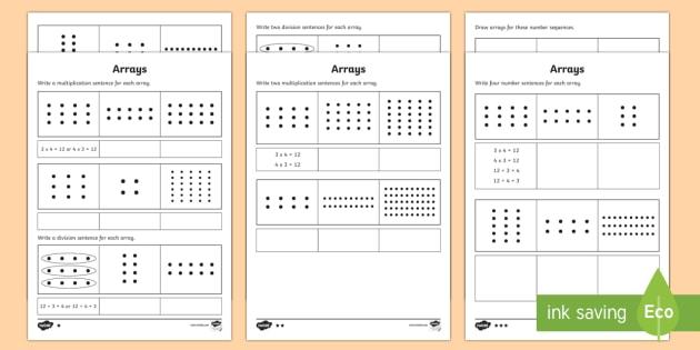 Year 2 Maths Arrays Homework Worksheet   Worksheet