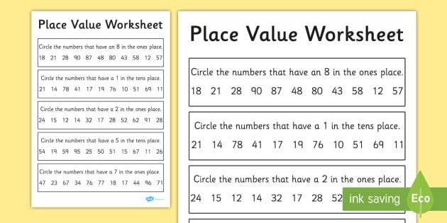 Place Value Worksheet   Worksheet 2 Digits