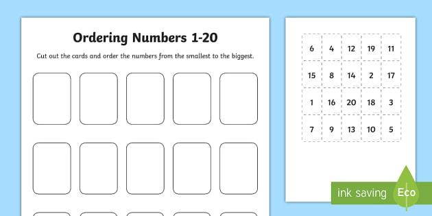 Ordering Numbers Cut And Stick Worksheet   Worksheet