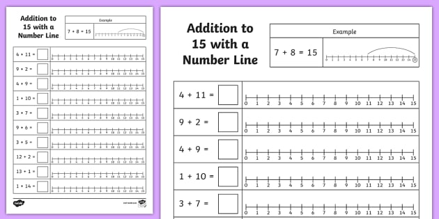 Addition To 15 With A Number Line Worksheet   Worksheet