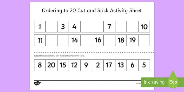 Ordering Numbers To 20 Worksheet