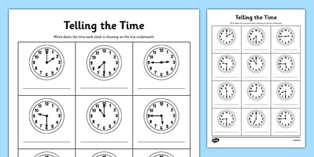 O'clock, Half Past And Quarter To Times Worksheet   Worksheet